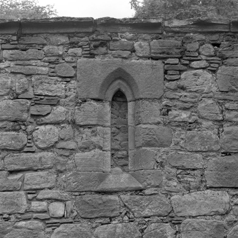 Detail of blocked lancet window in North wall.