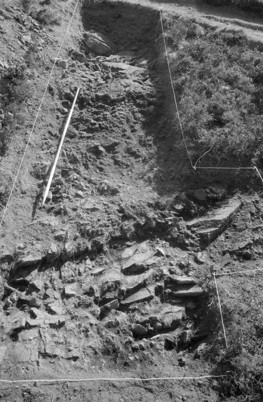 Excavation photograph : area V - bedrock, looking east.