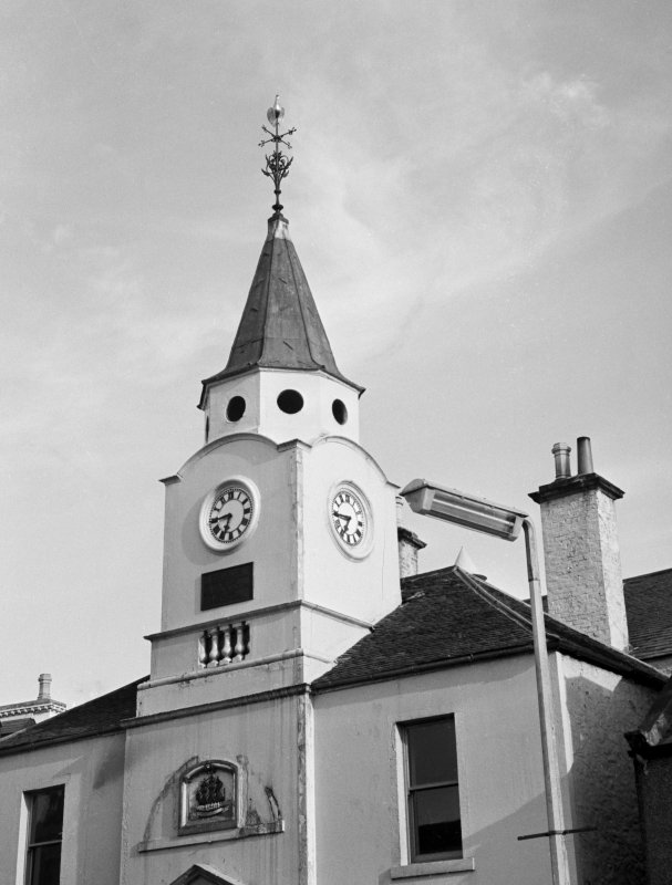 View of upper part of Old Town Hall, Stranraer, from north west
