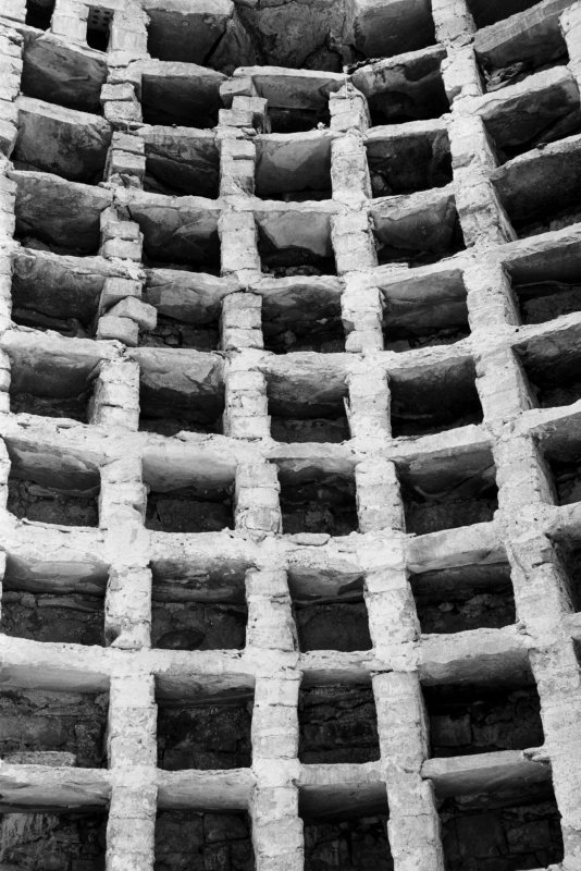 View of nesting boxes inside dovecot at Kirroughtree House.