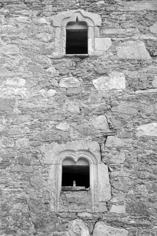 Detail of windows on west elevation, Barholm Castle.