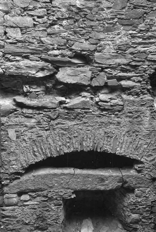 Detail of fireplace on first floor, Barholm Castle.