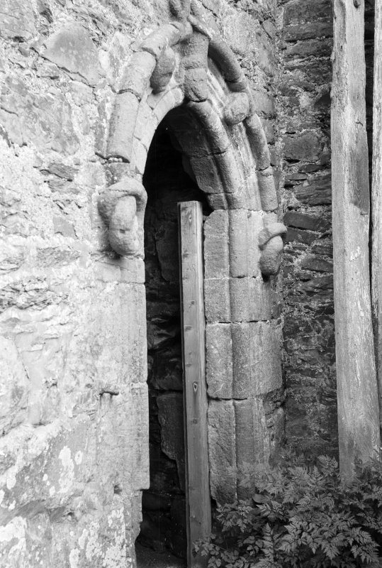 Detail of arched entrance doorway, Barholm Castle.