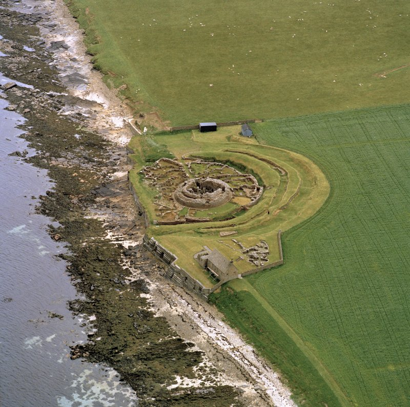 Oblique aerial view of Broch of Gurness, Aikerness.