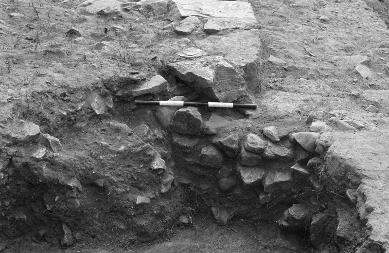 Jedburgh Abbey excavation archive Frame 31: Area 1: Trench J, showing Wall 922, rubble 959 and pit 929. From N.