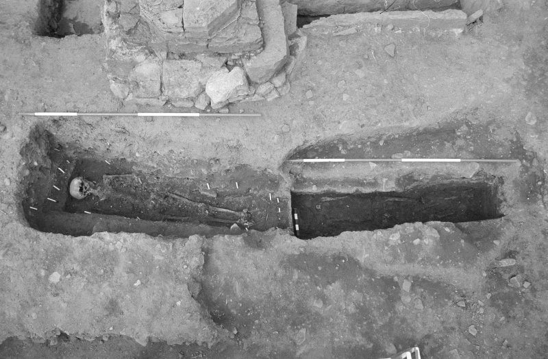Jedburgh Abbey excavation archive Frame 11: Room 3: Coffin burials 282 and 881. From S.