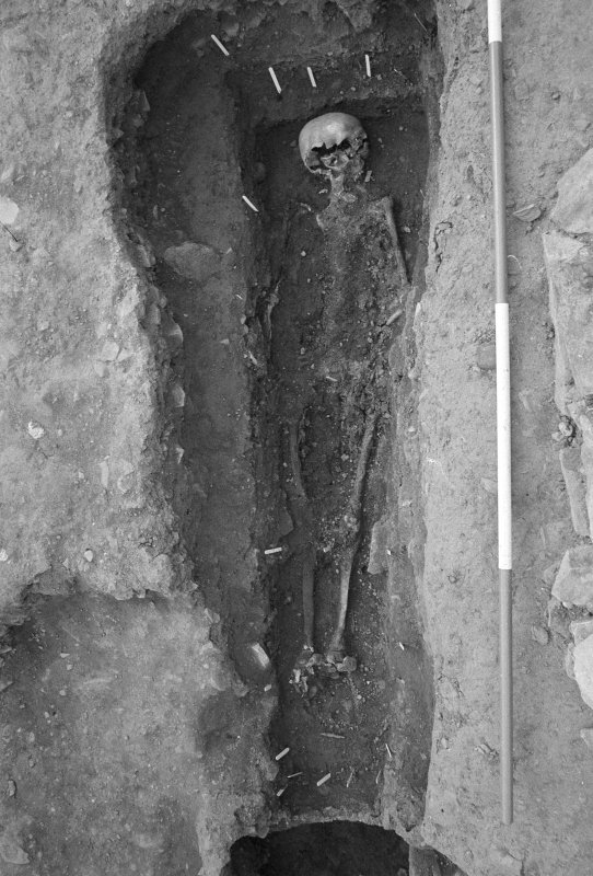 Jedburgh Abbey excavation archive Frame 17: Area 1: Room 3 showing coffin burial 282. From N.