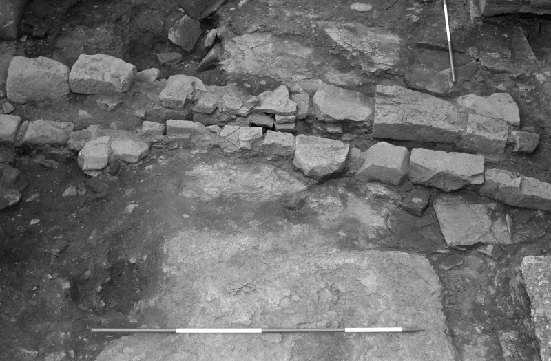 Jedburgh Abbey excavation archive Frame 8: Area 1: Room 11: Detail of drain 814. From E.