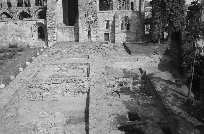 Jedburgh Abbey excavation archive Frame 18: Area 1: East Range and Trench J. From S.