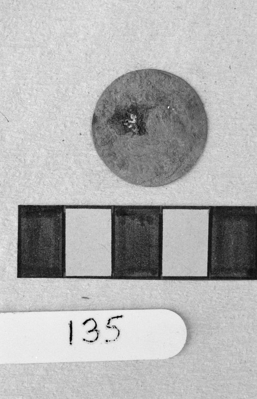 Jedburgh Abbey excavation archive Frame 12: Coin from 135.