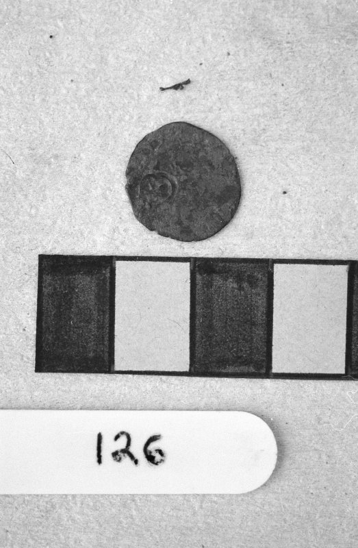 Jedburgh Abbey excavation archive Frame 22: Coin from 126.