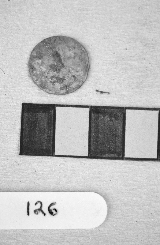 Jedburgh Abbey excavation archive Frame 26: Coin from 126.