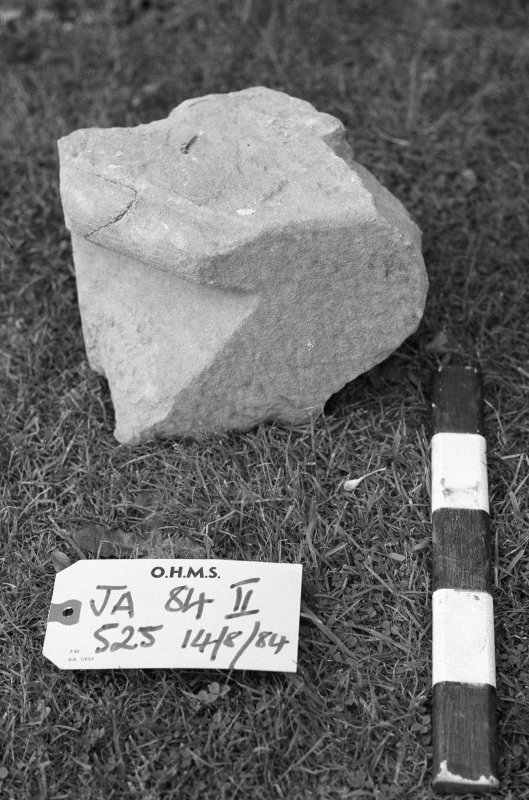 Jedburgh Abbey excavation archive Frame 2: Architectural fragment from 525.
