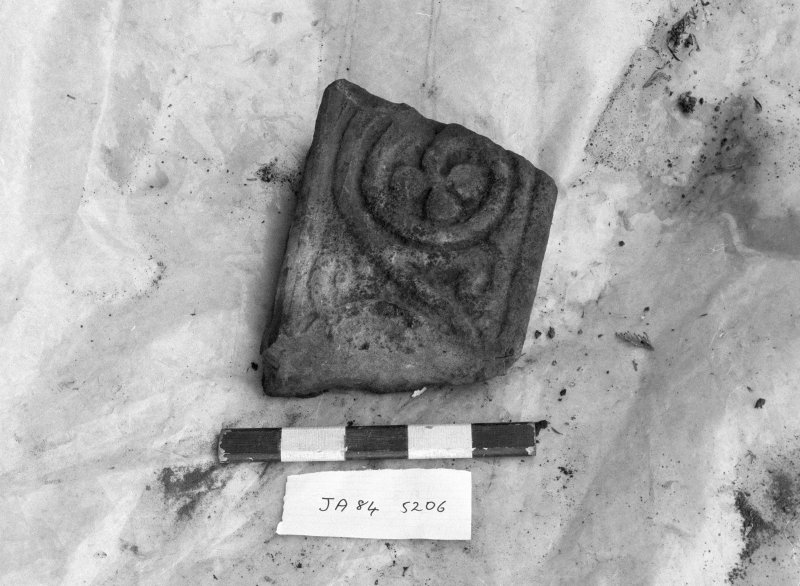 Jedburgh Abbey excavation archive Frame 16: Sculptured stone SF206 (Side 2) Frames 17-19: Architectural fragment SF207