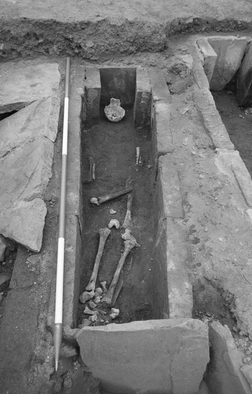 Jedburgh Abbey excavation archive Frame 36: Area 1: Room 3: Skeleton 16 in Grave 875. From E.