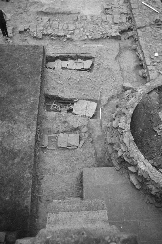 Jedburgh Abbey excavation archive Frame 21: Area 1: Trench J: Unexcavated Graves 981, 1006 and 1010 and Skeleton 20. From N.