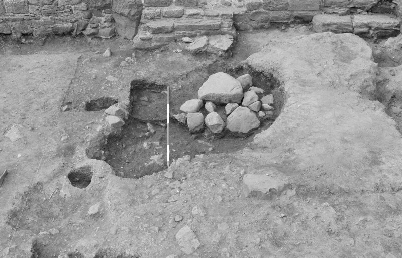 Jedburgh Abbey excavation archive Frame 3: Trench D: 489 partially excavated. From E.