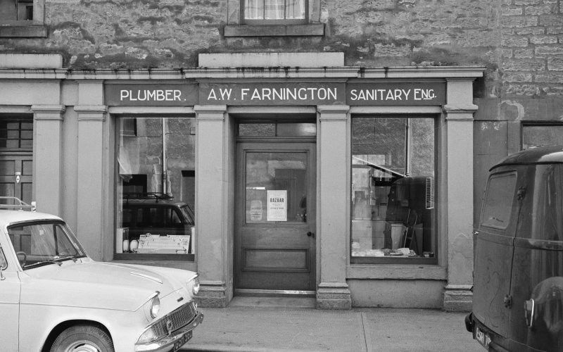 View of 13-15 South Street, Duns, from N, showing A W Farrington plumber