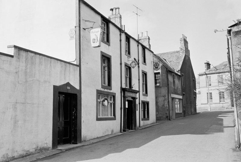 View from south east of Black Bull Hotel, 15 Black Bull Street, Duns, showing Bank of Scotland at 14 Newtown Street.