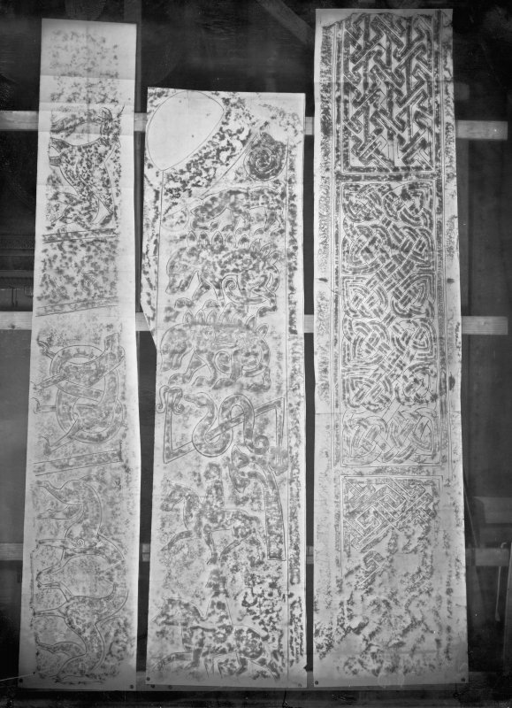 Photographic copy of three rubbings showing details of a grave slab from Meigle, the Boar Stone of Gask Pictish cross slab and a cross shaft from St Andrews Cathedral.
