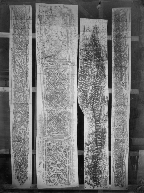 Photographic copy of four rubbings showing St Andrews no.14 cross shaft and the Newton Stone, an ogham inscribed Pictish symbol stone. The left and right carved stones are unidentified.
