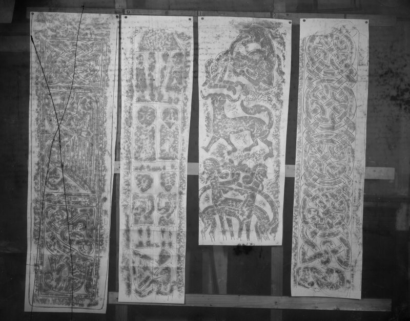 Photographic copy of four rubbings showing details of the Dupplin Cross, Monfieth no.4 cross shaft and the Rossie Priory Pictish cross slab.
