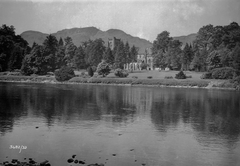 View of Dunkeld Cathedral from across River Tay