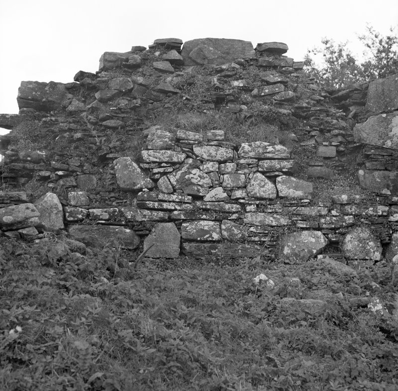 View of exterior, section of South wall, of St. Finan's Chapel, on Eilean Fhianain.