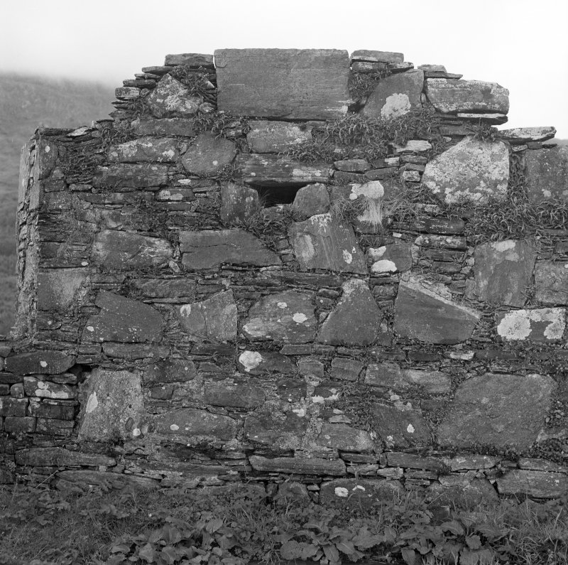 View of interior section of South wall, of St. Finan's Chapel, on Eilean Fhianain.