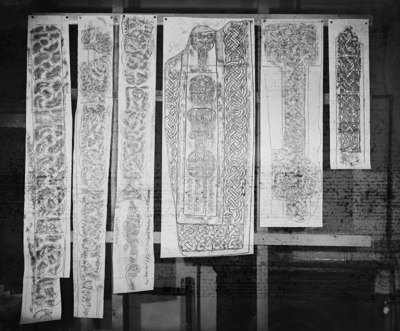 Photographic copy of six rubbings showing two details of the reverse of the St Orland's Stone and details of St Vigeans no.16, the remaining stones have not been identified.