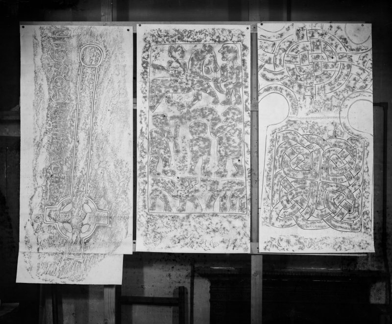 Photographic copy of three rubbings showing an incised cross from Iona and two detail of the Barochan Cross.