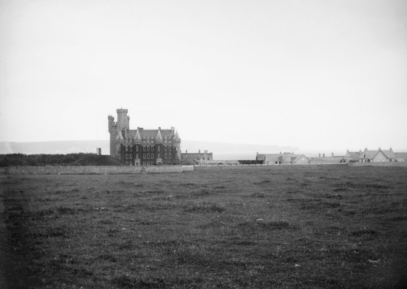 Distant view of front elevation of Thurso Castle
