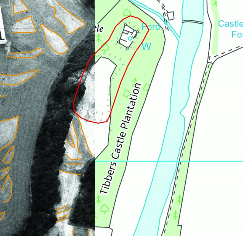 Illustration of Tibbers Castle showing scheduled area, section of OS map and section of aerial photograph DF3071RE