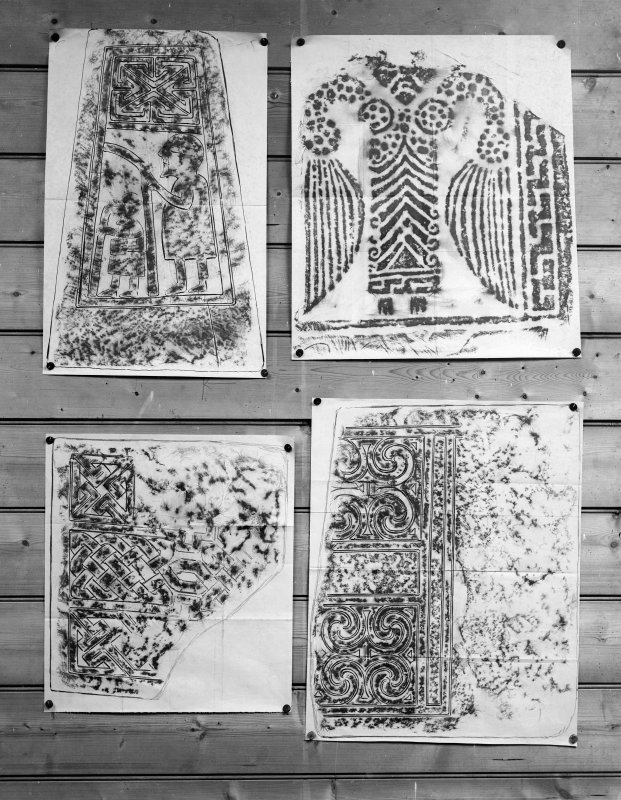 Photographic copy of four rubbings showing details of St Andrews no.9 cross slab and Kirriemuir no.4 cross slab at the top and two unidentified carved stones.