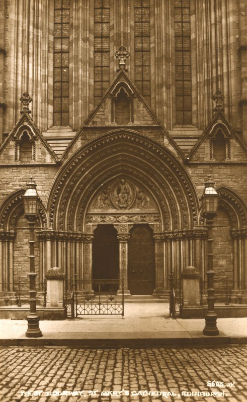 Edinburgh, Palmerston Place, St. Mary's Episcopal Cathedral. 'West Doorway, St Mary's Cathedral, Edinburgh' (Postcard).