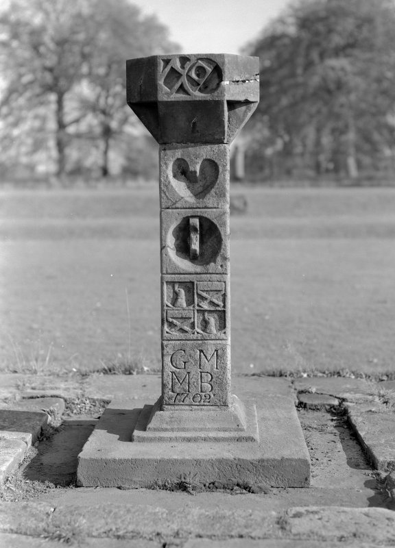 View of sundial in the garden of Auchenbowie House, with initials 'G M M B' and dated 1702.