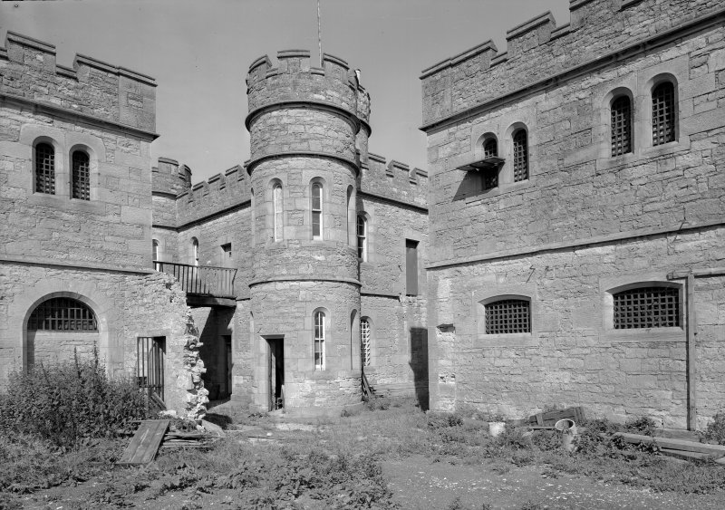 View of south elevation of Governor's House and part of male blocks one and two, Jedburgh Castle Jail.