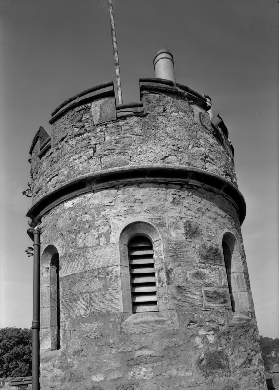 Detail of bell tower on roof of Govenor's House, Jedburgh Castle Jail.