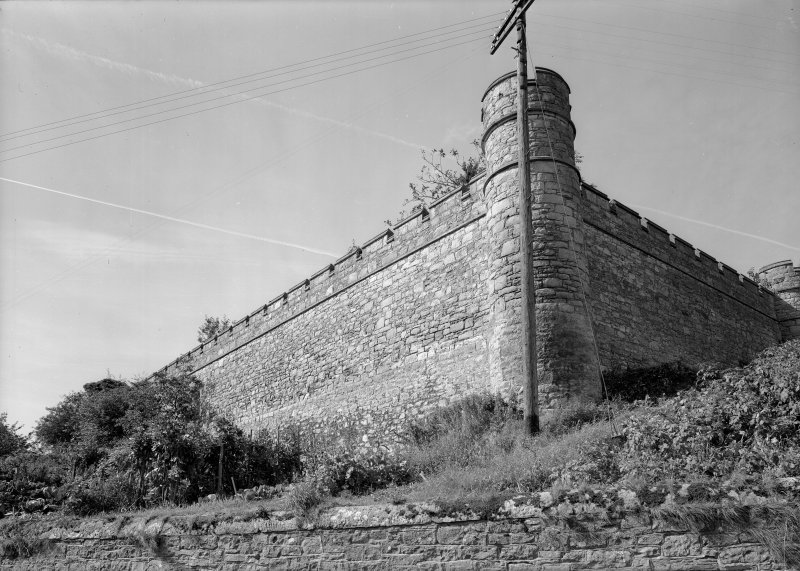 View of boundary wall, Jedburgh Castle Jail.