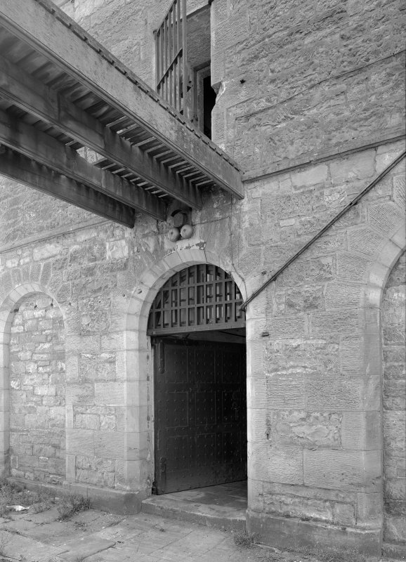 Detail of doorway and bridge to male block two from Govenor's House, Jedburgh Castle Jaio.