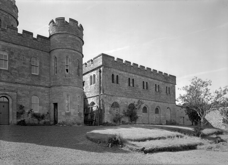 View of north east elevation of female block and part of Govenor's House, Jedburgh castle Jail.