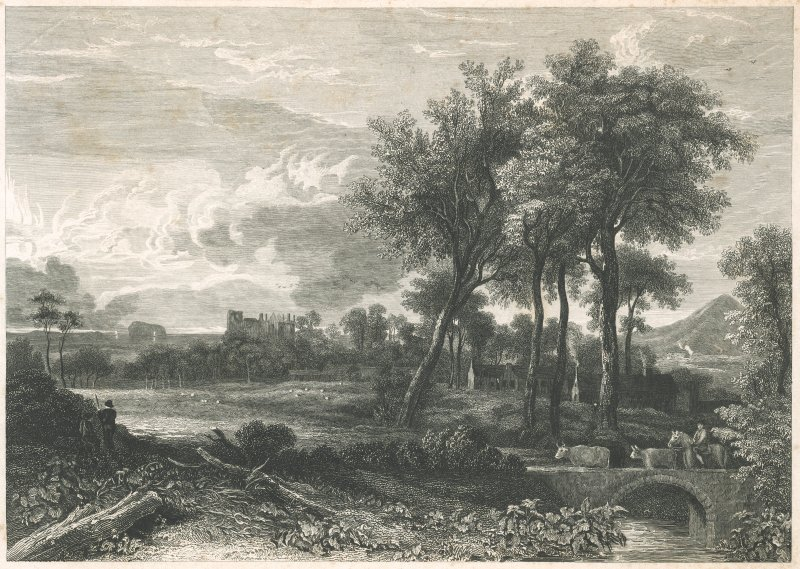Engraving showing distant view of Dirleton Castle, with Berwick Law, Bass Rock and cows.