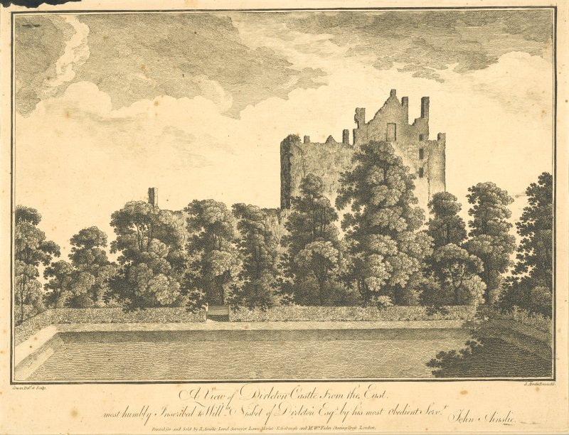 Engraving showing Dirleton Castle from East.