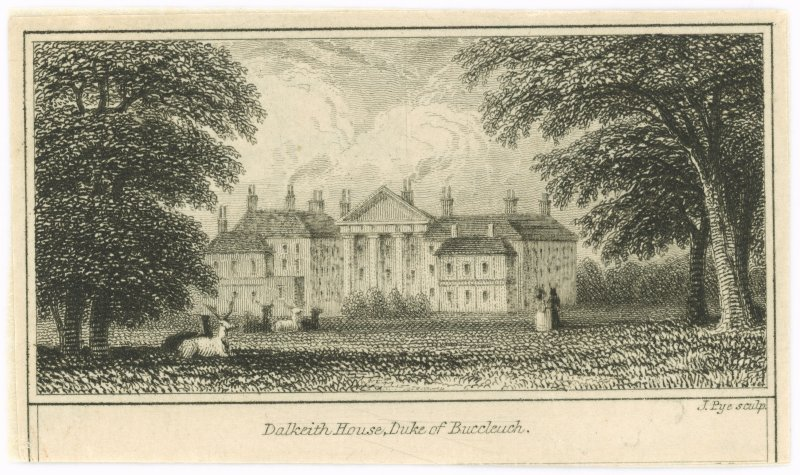 Engraving showing view of Dalkeith House