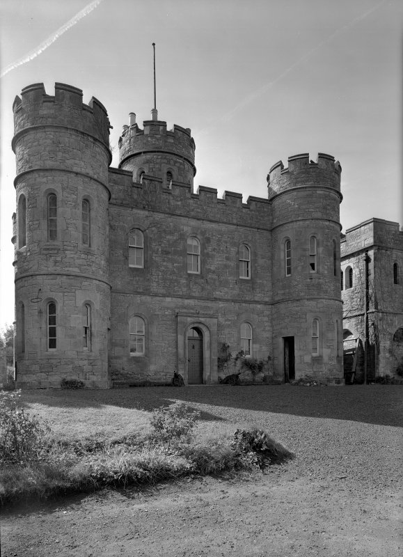 View of main block from NE, showing Governor's House, Jedburgh Castle Jail.