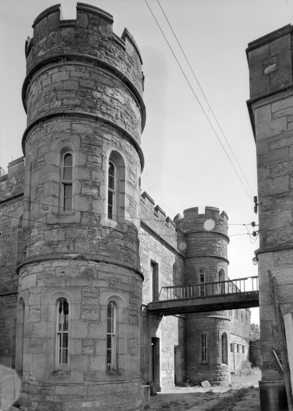 View of bridge between Govenor's House and male block two, Jedburgh Castle Jail.