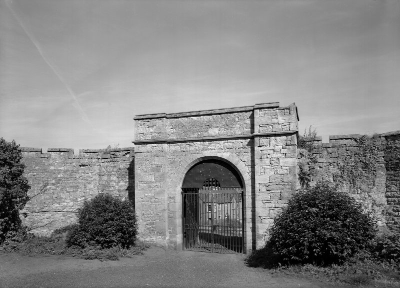 View of south west elevation of main gate, Jedburgh Castle Jail.