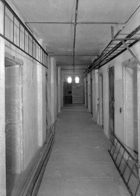Interior view of corridor in west female block on ground floor, Jedburgh Castle Jail.