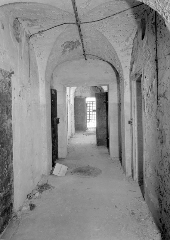 Interior view of corridor in east male block on first floor, Jedburgh Castle Jail.
