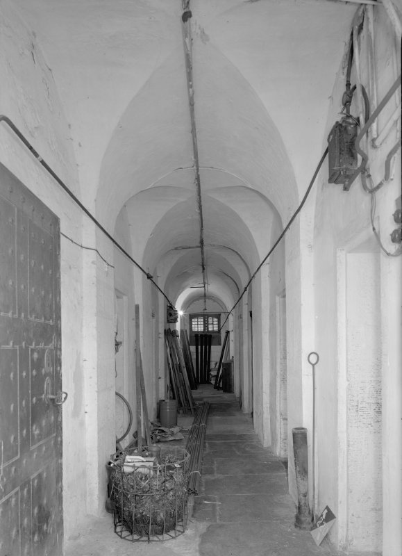 Interior view of corridor in male block two on ground floor, Jedburgh Castle Jail.